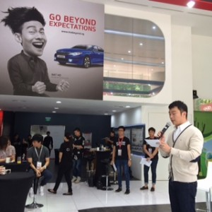 Nicholas Ng introducing Brand Ambassador Nat Ho